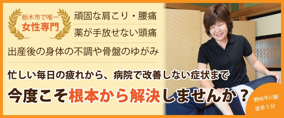 栃木市唯一の女性専門整体院。病院でも治らない痛みシビレから女性疾患まですべておまかせ!
